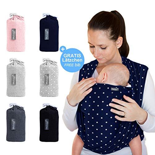 Makimaja - Fascia porta bebè blu marino con stelle - tracolla di alta qualità per neonati e...