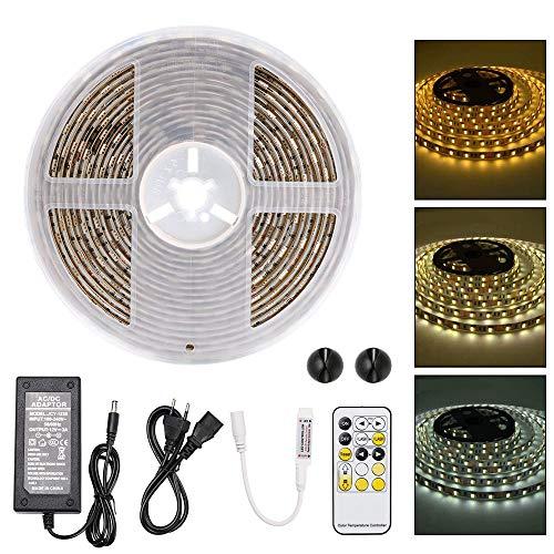 URAQT Striscia LED 5M,Impermeabile Bianco Freddo & Caldo LED Striscia,300 LED 5050 Luce Con...