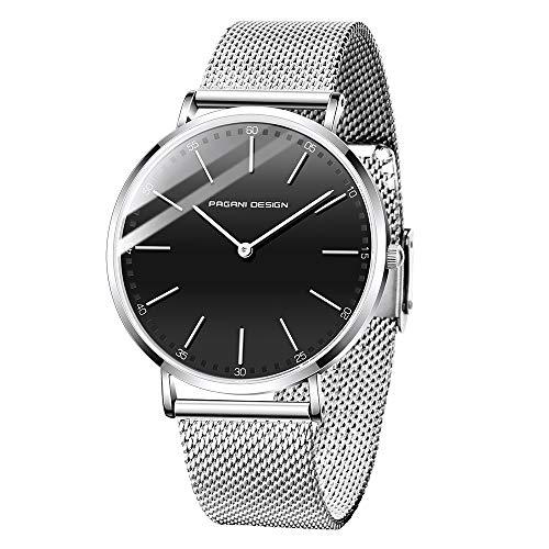 Pagani Design Neutral Analog Quartz Watch Orologio ultra sottile e minimale impermeabile (Uomo, Argento Nero - D)