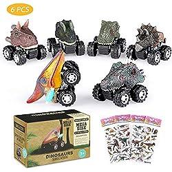 Joylink Coches Dinosaurios,6 Pcs Pull Back Dinosaur Car Toys,Tire hacia Atrás de Los Juguetes de Dinosaurios Regalos Creativos para Niños de 3-14 Años