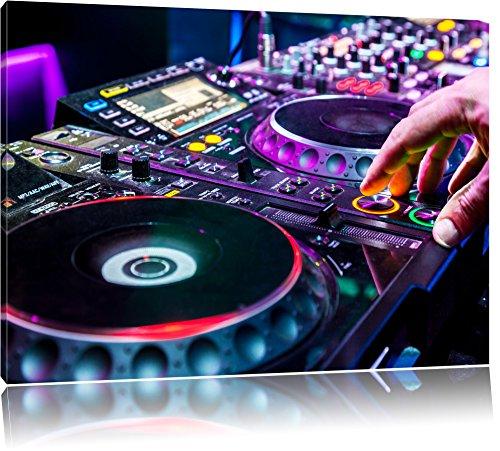 Pixxprint Moderna consolle DJ Illuminato Stampa su Tela 80x60 cm Artistica murale