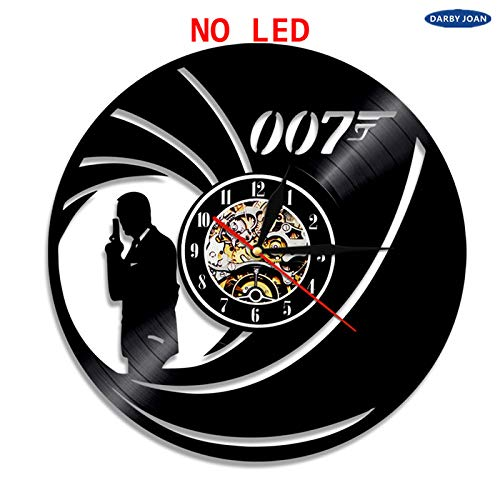 OLILEIO James Bond 007 LED Vinile Orologio da Parete Retroilluminazione a Colori Cambiamento a Mano...