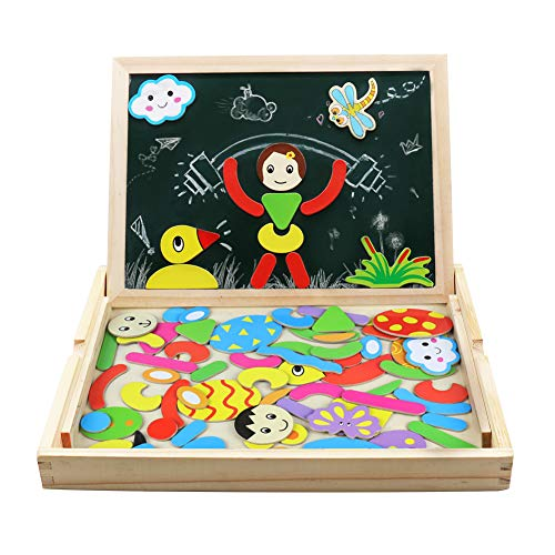 Magnetico Lavagna Puzzle di Legno Giochi Montessori Magnetica Lavagnetta a Double Face Magnetica...