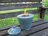 Doppelwandige Keramik-Feuerschale für Bio-Ethanol mit Hinterlüftung und Deckel zum Löschen der Flamme, Tischfeuer, Gartenfeuer, Gartenfackel, Gartenlicht, ca. 20 x 22 cm, mit 500 ml Brenndose