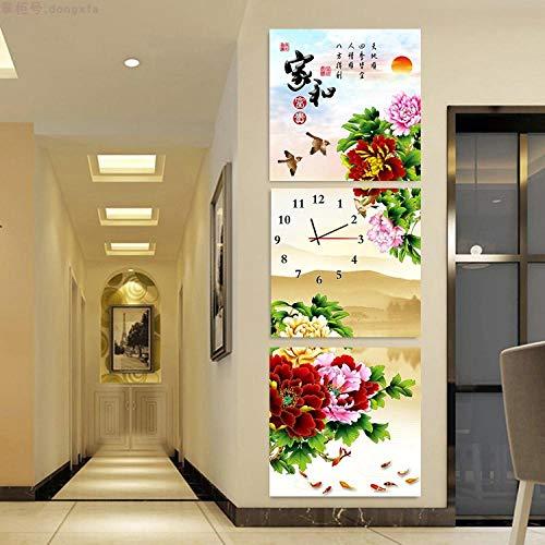 WFQGZ Murale con Orologio Soggiorno Decorazione Pittura Porta d'ingresso corridoio corridoio Pittura murale Arte Orologio Muto trittico Verticale 60X60-25mm di Alta qualità Nano Ghiaccio8029