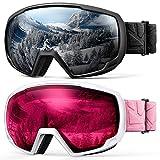 OutdoorMaster Gafas de esquí Kids OTG - Paquete de 2 sobre anteojos Gafas de esquí para niños, 100% 400UV Protección - para niños y jóvenes - Negro/Gris (VLT 10%) + Blanco/Rosa (VLT 60%)