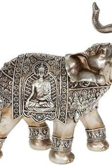 Figura decorativa de elefante (oro y plata, buda)