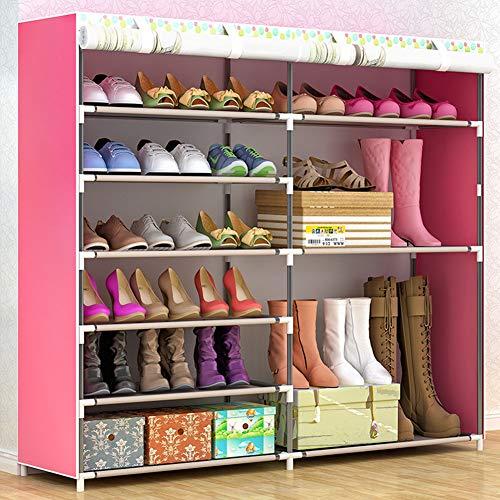 XUE Schuh-Rack, Schuhspeicherkabinettenturm mit einfachem Schuh-Rack Montage Schuh Artefakt Vhabekowette Fabric Cover Haushaltsschaufel-Tabinette Multi-Layer Boot Cabinet,A