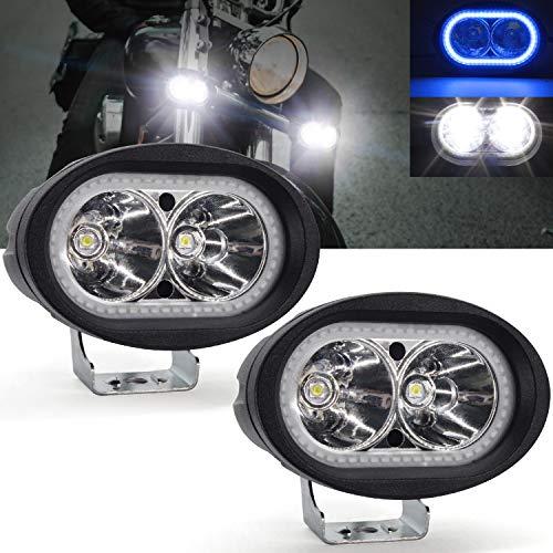 Faretti LED Moto Supplementari,YuanGu 20W Moto Faro da Lavoro Luce Con Blu Angel Eyes Halo Ring LED...
