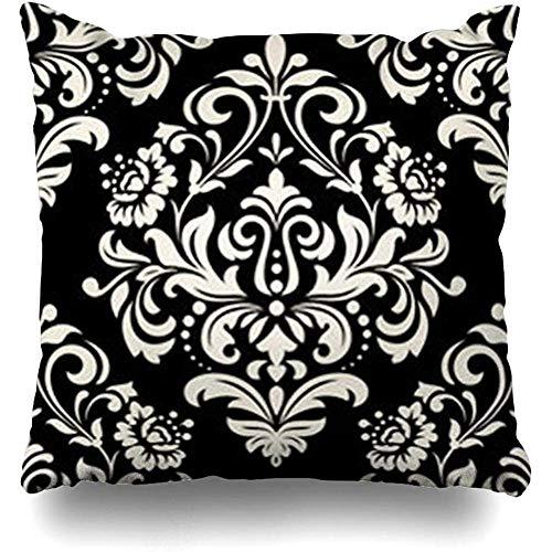 Egoa Fodera per Cuscino Royal Floral Pattern Barocco Vintage in Bianco Nero Damasco Ornato Fiore...