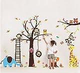 ColourfulWorld - Adhesivo de pared XXXL, diseño de zoo-jungla, color rosa, con mono, jirafa, elefante y búho, ideal para dormitorio infantil o regalo