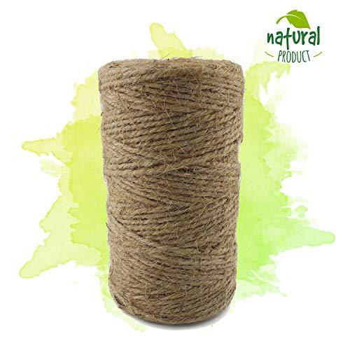 ProGoods cadena yute resistente a la rotura, resistente a la intemperie, 100% de fibras naturales - biodegradables, bramante para la artesanía, decoración, colgar cuadros (Marrón, 100m)