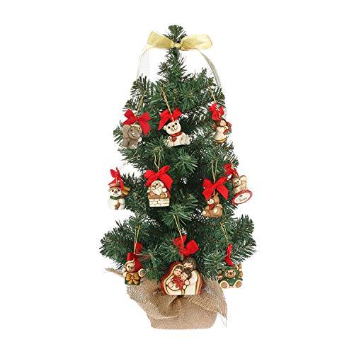 THUN  - Albero di Natale h 11 x 11 x 60 cm con 10 Mini addobbi - Ceramica -