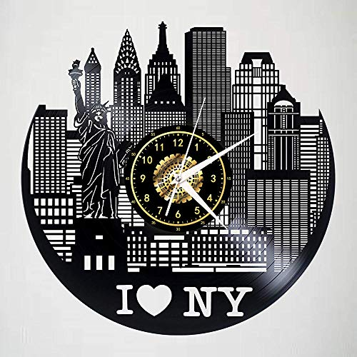 Amo New York Orologio Da Parete In Vinile Record Led Luminoso Nostalgico Silhouette Record Art Handmade Camera Da Letto Decor Regalo No Luce A Led Da 12 Pollici