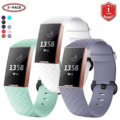 FunBand Fitbit Charge 3 Cinturino Edizione Speciale Morbido Sportivo di Ricambio in TPE, Accessori per Orologio alla Moda per Fitbit Charge 3