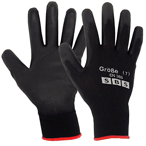 12 paia di guanti taglia 7 SBS nylon nero