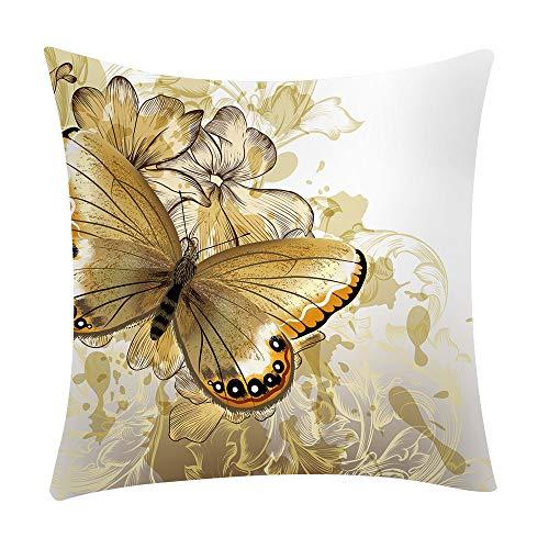 LEEDY - Funda de cojín con Estampado de Mariposas, para decoración del hogar, sofá, Coche, Dormitorio con Cremallera Invisible, 45,7 x 45,7 cm, poliéster, B, Medium