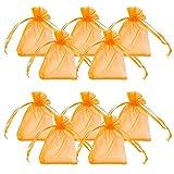 PandaHall 100PCS Sacchetti Regalo Organza Saccgetti Portaconfetti Sacchetti Gioielli, Rettangolo, Rosso arancio, 9x7cm