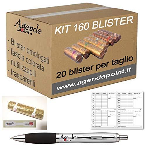 Blister contenitori per monete Euro 160 pezzi assortiti (20 pezzi per taglio) in plastica...