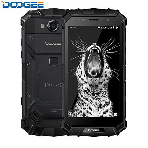 Smartphone ohne Vertrag, DOOGEE S60 Wasserdichte Outdoor Handy - Dual SIM Robustes Smartphones Android 7.0-4G 5.2 Zoll FHD - Helio P25 Octa-core - 6G RAM+64G ROM - 8.0MP+21.0MP - 5580mAh - Schwarz
