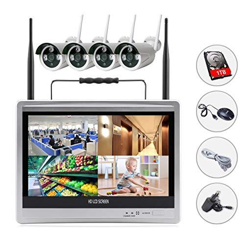SIBO 4 canali 960P telecamere IP wireless sistema di accesso remoto IR Day / Night visione fotocamera impermeabile, monitor LCD 12 pollici LCD HD WIFI NVR KIT interno con disco rigido da 1TB