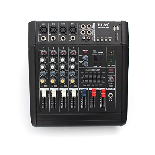 NeitKaarsh India PMX402D-USB 4 Channel Professional Powered DJ Mixer Power Mixing Amplifier Amp USB Single Item.