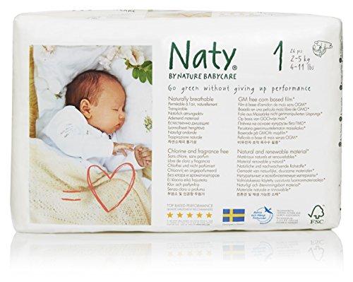 Naty by Nature babycare, Taglia 1, (2-5 kg), 4 confezioni da 26 [104 Pannolini]