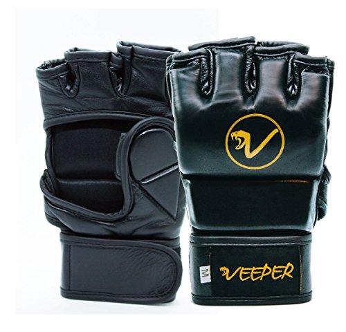 veeper One MMA Guanti (L) 4oz–Premium MMA Guantoni da boxe vera pelle Grappling Sacco di...
