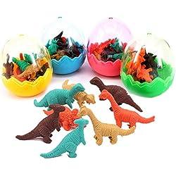 Xrten 24 Pcs Huevos de Dinosaurio con Mini Borrador de Dinosaurio Goma Juguete para Regalo Fiesta cumpleaños niños