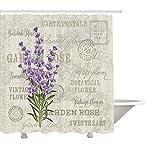 """Cortina de ducha de lavanda por yeuss, Vintage Postcard Composicišn con Grunge pantalla y flores, tela Set de decoracišn de ba?o con ganchos, lavanda reseda verde Beige 60?""""x72"""", 72""""x80"""""""