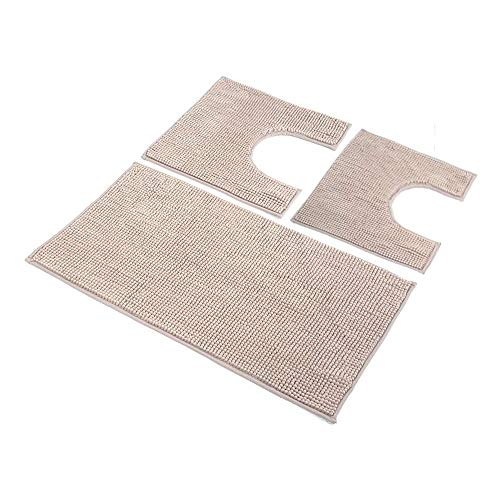 HomeLife: Set Tappeti Bagno 3 Pezzi in Microfibra [45X75 + 40X45 (2 Pezzi)] - Parure tappetini Bagno...