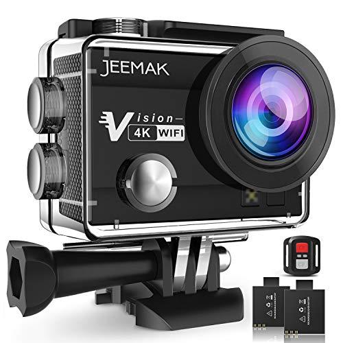 Action Cam JEEMAK WIFI Action Kamera 4K Camera mit 2.4G Fernbedienung 16MP Ultra Full HD Helmkamera wasserdicht mit 2 verbesserten Batterien und kostenlose Accessoires