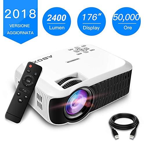 Videoproiettore 2400 Lumens, ABOX T22 LED mini videoproiettori supporto 1080P Ingresso Mini Home...