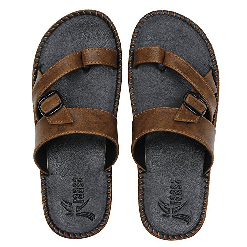 Kraasa Men's Synthetic Outdoor Thong Sandals (Size: 9, Color: Black)