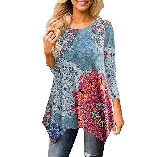 Blusas Mujer, ASHOP Casual Flores Imprimir Sudaderas Ropa en Oferta Camisetas Manga Larga Tops de Fiesta Abrigos Invierno de Mujer otoño (XL