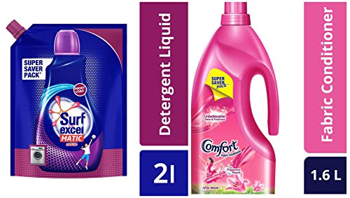 Surf Excel Front Load Matic Liquid Detergent Pouch - 2 L & After Wash Lily Fresh Fabric Conditioner - 1.6 L Combo