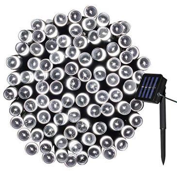 Yasolote 12M Guirlande Lumineuse Solaire 100 LED Guirlande Lumineuse Extérieur Imperméable Avec 8 Modes Lampe Solaire Décorative pour Noël, Jardin, Fête, Mariage, Maison, Pelouse