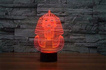 3D Illusion Egipto esfinge Faraon Lámpara luces de la noche ajustable 7 colores LED Creative Interruptor táctil estéreo visual atmósfera mesa regalo para Navidad 4