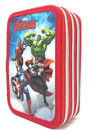 Astuccio Scuola AVENGERS Marvel Supereroi 3 ZIP/CERNIERE Porta Colori CARIOCA CM. 20X13X6 - AV0471