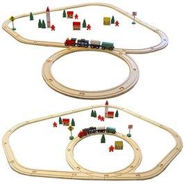 Eyepower 48 pezzi Trenino di legno set incl binari accessori estensibile Treno giocattolo per bambin