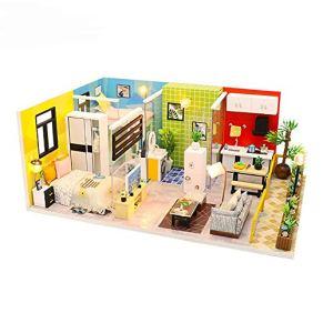 Cvbndfe DIY habitación Miniatura Set-Woodcraft Construction Kit-Madera de construcción de Modelos Set-Mini casa…