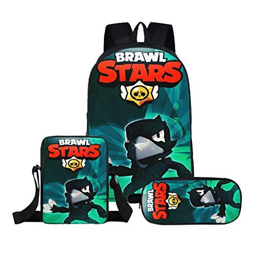 Stampa 3D Brawl Stars Set di Borse da Scuola per Studenti,Brawl Stars Zaino Adolescenti Ragazzo...