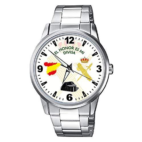 Reloj Guardia Civil Fondo Blanco con Escudo Metálico