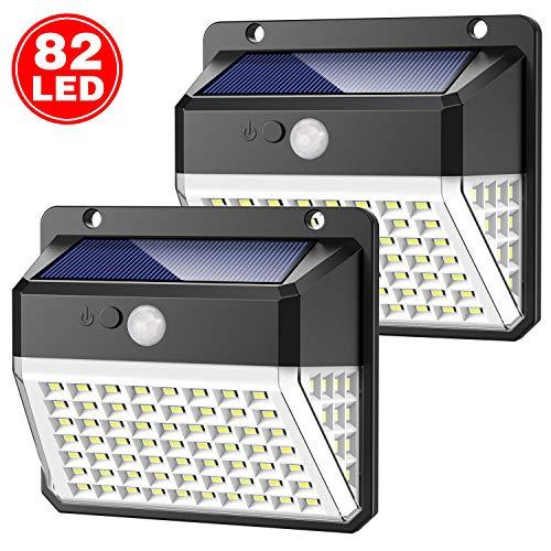 Luce Solare Esterno, Yacikos 82 LED Lampada Solare con Sensore di Movimento Luci Solari da Parete...