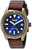 Szanto Men's 'Vintage Dive' Quartz Stainless Steel and Leather Casual Watch, Color:Brown (Model: SZ5205)