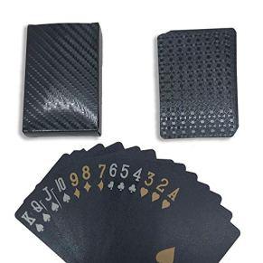 KiraKira Playing Cards, Trucos de Cartas, Baraja de Poker, Texas Hold'em, Naipes Cartas de póker Impermeables de 54 Piezas (Negro)