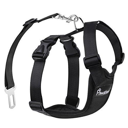 Pawaboo Cinturón de Arnés de Chaleco de Seguridad para Perros, Mascotas Arnés Ajustable de Malla para el Conductor para Perros de 11 lb-33 LB, Negro