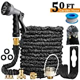 Expandable Garden Hose Pipe/Expanding Water Magic Hose - Lightweight,Durable& Felxible -Bonus 8 Function Spray Gun/Hose Hanger/Storage Bag/Brass Fittings,Best Choice for Watering and Washing (50ft)