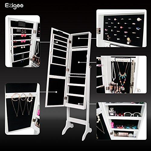 Ezigoo Spiegel Schmuckschrank Beleuchtet mit Touchscreen LED Licht - Schmuckregal mit Ganzkörperspiegel - 6