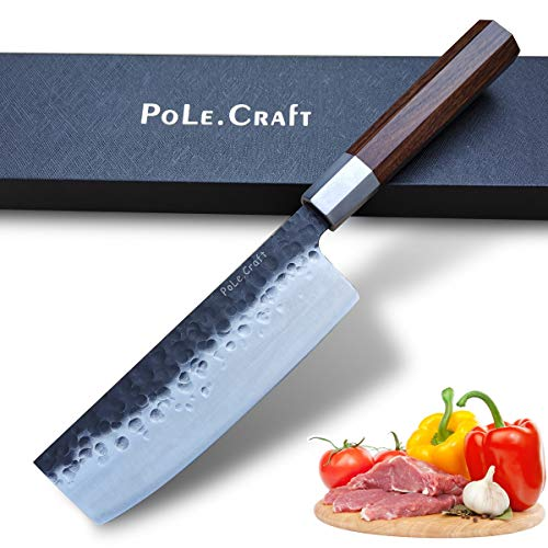 12 Inch Chef Knife Forged Kitchen Knife Chef's Knives Slicing Knife for Chefs Cutlery Knife Crude Wood Handle Plus Forged Steel High Hardness Sharp and Practical to Meat Fish Black